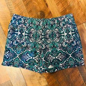 KENAR Green/Navy Paisley Chino Shorts